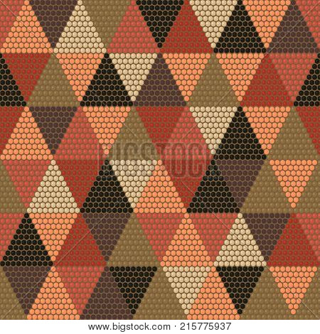 Beads and Beadwork. African mosaic motifs. Abstract seamless pattern. African Culture. Warm earthy background. Simple texture for handiwork, backdrop for decoration.