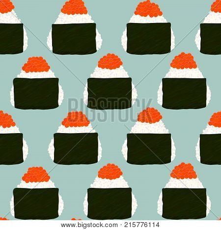 Onigiri Topped with salmon roe (ikura). Seamless pattern. Japanese cuisine. Japanese rice balls wrapped with nori seaweed. Pescatarian snack. Lunch background.