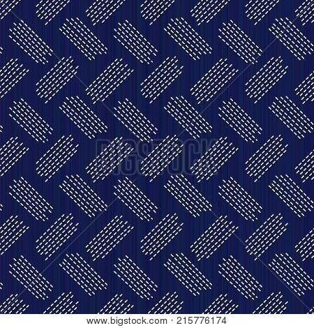 Weaving. Japanese sashiko motif. Seamless pattern. Abstract backdrop. Needlework texture. Traditional Japanese Embroidery Ornament. For decoration or printing on fabric. Pattern fills.