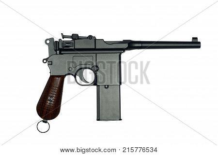 Vintage German semi-automatic pistol of World War I isolated