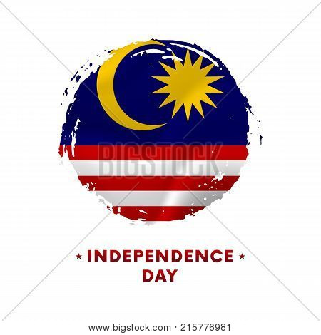 Banner or poster of Malaysia Independence Day celebration. Waving flag of Malaysia, brush stroke background. Vector illustration.