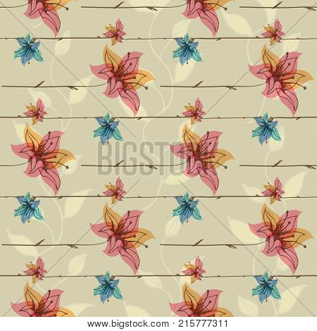 Vector floral seamless pattern with blooming flowers. Hand-drawn elements