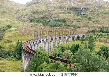 Glenfinnan Viaduct In Glenfinnan, Inverness-shire, Scotland.