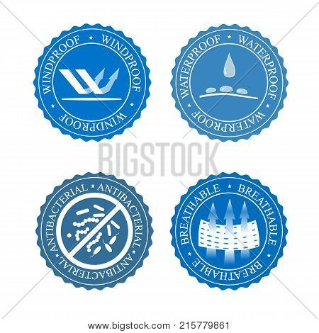 Vector icons set of fabric features. Wind proof, antibacterial, waterproof, and breathable wear labels. Textile industry pictogram for clothes line.