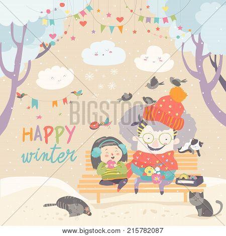 Grandma and granddaughter eating donuts in winter park. Vector greeting card