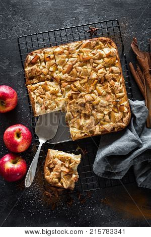 Apple pie with cinnamon on dark background, top view