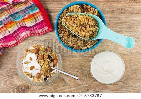 Muesli With Yogurt, Spoon With Muesli In Bowl, Sour Cream