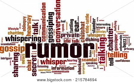 Rumor word cloud concept. Vector illustration on white