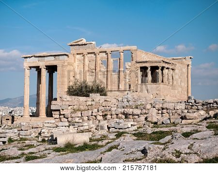 The Erechtheum With Caryatids In Acropolis