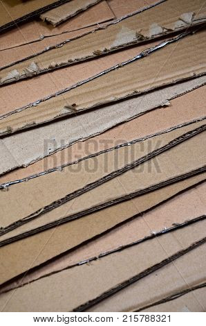 Background Of Paper Textures Piled Ready To Recycle. A Pack Of Old Office Cardboard For Recycling Of