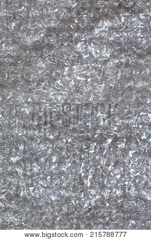 White Bubble Wrap Packing Or Air Cushion Material. Abstract Texture For Creative Art Work, Close Up