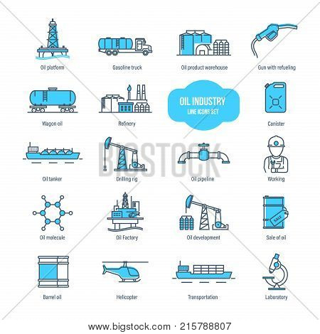 Oil industry thin line icons, pictogram, symbol set. Icons for gas station, oil factory and tanker, transportation, buildings, warehouse, development, modern laboratory. Illustration editable stroke