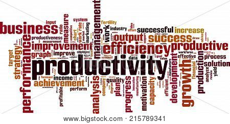 Productivity word cloud concept. Vector illustration on white