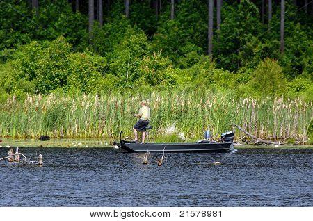 Bass Fishing On Lake