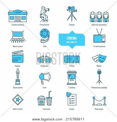 Cinema, film, filming, movie time thin line icons, pictogram set. Building, camera, movie screen, flapper, glasses, ticket masks awards cashbox spotligh Icons for illustration editable stroke