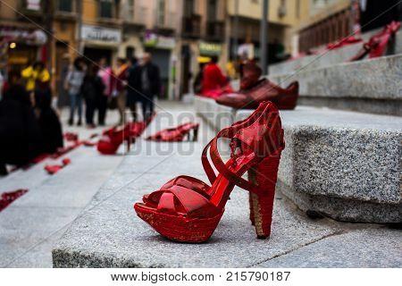CAGLIARI, ITALY - NOVEMBER 25, 2017: Zapatos rojos by Elina Chauvet at Piazza Garibaldi - Sardinia