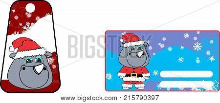 xmas cute rhino claus´s costume cartoon gift card set in vector format