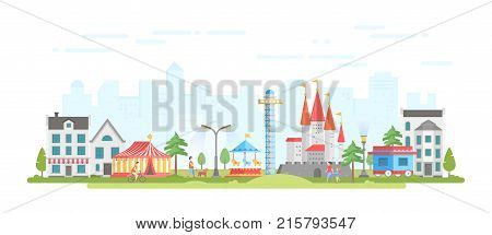 City with amusement park - modern flat design style vector illustration on urban background. Lovely view with circus, merry-go-round, castle, houses, people walking. Entertainment concept