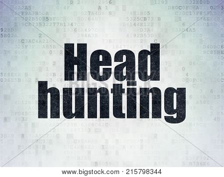 Finance concept: Painted black word Head Hunting on Digital Data Paper background