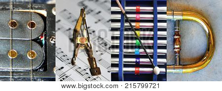 Photographic letters form the word BAND. Photographs are of guitar music sheet and clip xylophone and trombone.