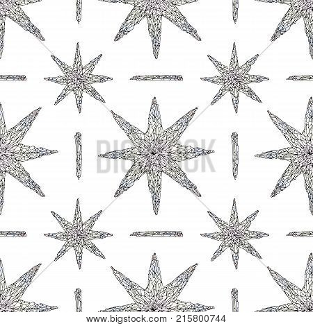 Hand drawn crystals pattern. Abstract stylized stars seamless background. Vector colorful texture for wallpaper, wrapping paper, textile design, surface, fabric.