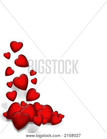 3D Falling Hearts Corner