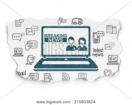 News concept: Painted blue Breaking News On Laptop icon on Torn Paper background with  Hand Drawn News Icons