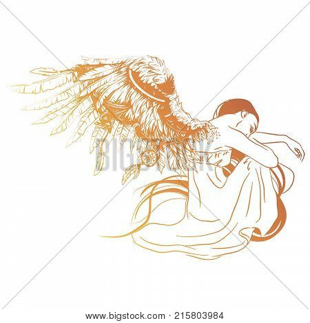 Vector illustration of sad angel with two faded