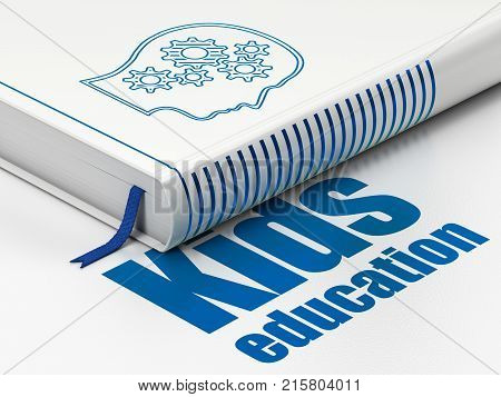Studying concept: closed book with Blue Head With Gears icon and text Kids Education on floor, white background, 3D rendering