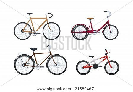 Set of summer modern vehicles for transportation, city bicycles: travel and walks, sports races, family bike, walking. Cycling, bike and bicycle. Vector illustration.