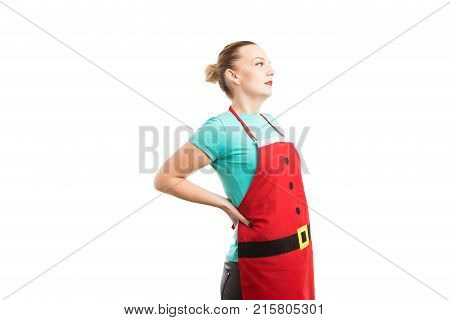 Lower Back Pain Concept With Woman Wearing Christmas Apron