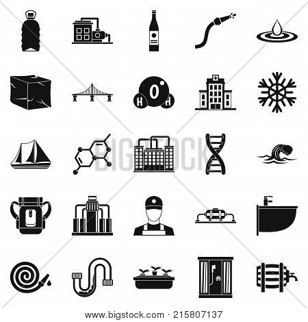 Water supply icons set. Simple set of 25 water supply vector icons for web isolated on white background