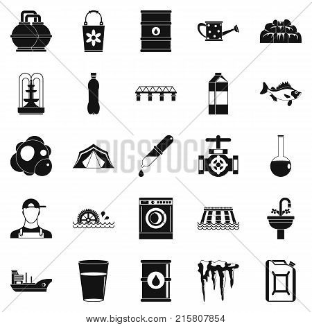 Water supply system icons set. Simple set of 25 water supply system vector icons for web isolated on white background