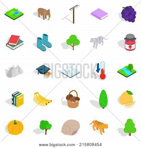 Observing the nature icons set. Isometric set of 25 observing the nature vector icons for web isolated on white background