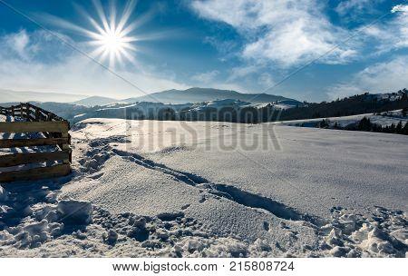 Snowy Mountain Meadow On A Hillside