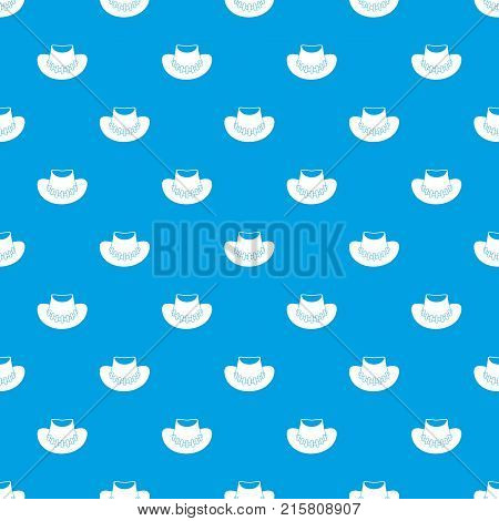 Cowboy hat pattern repeat seamless in blue color for any design. Vector geometric illustration