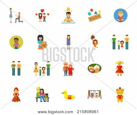 Family relationship icon set. Can be used for topics like relatives, generation, leisure, aging