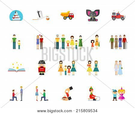 Family and generation icon set. Can be used for topics like togetherness, marriage, family members, wedding