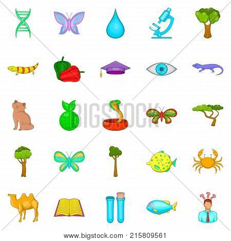 Biology science icons set. Cartoon set of 25 biology science vector icons for web isolated on white background