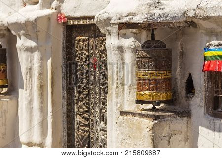 The prayer bell in Boudanath the biggest stupa in Nepal. UNESCO World Heritage Site one of the most popular tourist sites in the Kathmandu area.