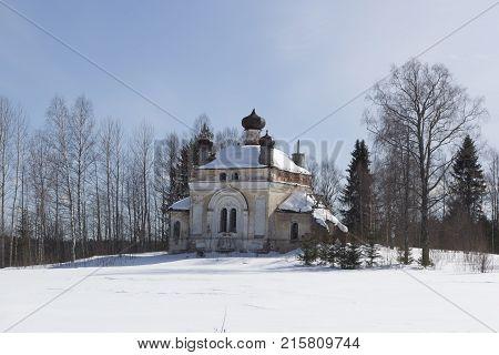 Ruins of the church in the village of Velikodvorskaya (Kochevar) Verhovazhkogo District, Vologda Region, Russia