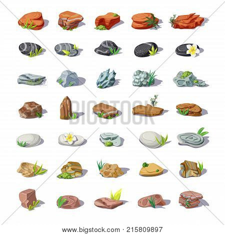 Cartoon colorful stones set with boulders pebbles sandstones rubbles cobblestones rocks of different shapes isolated vector illustration