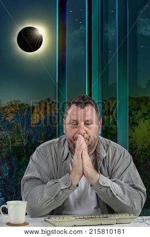 Man Is Feeling Trouble Of Solar Eclipse