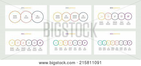 Business infographics. Timelines with 3, 4, 5, 6, 7, 8 options, circles. Vector templates.
