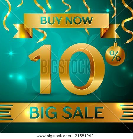 Realistic banner Merry Christmas with text Gold Big Sale buy now ten percent for discount on green background. Confetti, christmas ball and gold ribbon. Vector Illustration