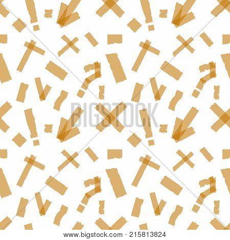 Seamless pattern of Adhesive tapes. Sticky glue scotch tape piece on white background Flat design  Illustration