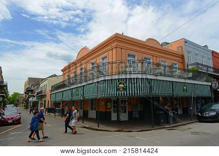 NEW ORLEANS - MAY. 29, 2017: Historic Buildings at the corner of Decatur Street and St Philip Street in French Quarter in New Orleans, Louisiana, USA.