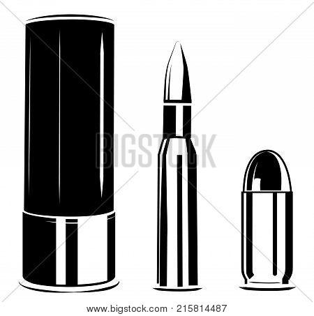 Vector set bullet caliber of weapon, pistol, rifle, shotgun shell cartridges