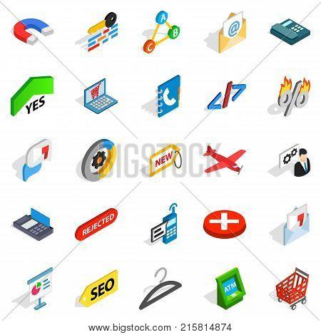 Case icons set. Isometric set of 25 case vector icons for web isolated on white background