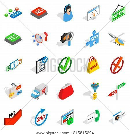 Firm icons set. Isometric set of 25 firm vector icons for web isolated on white background